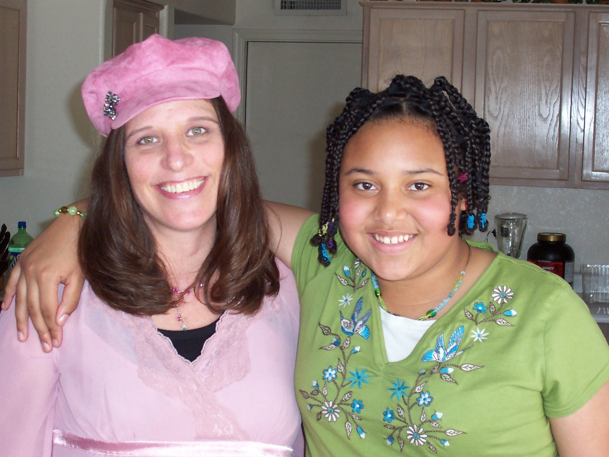 Chaunell and Leanna pink hat